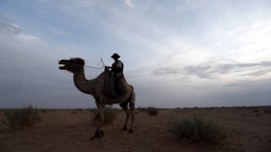 A nomad rides on a camel in the South Gobi desert, Mongolia, in June 2013