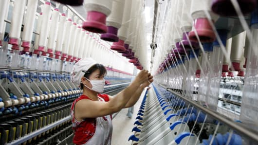 A woman working in a textile factory in Huaibei, China