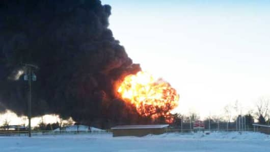 A train is derailed west of Casselton, North Dakota