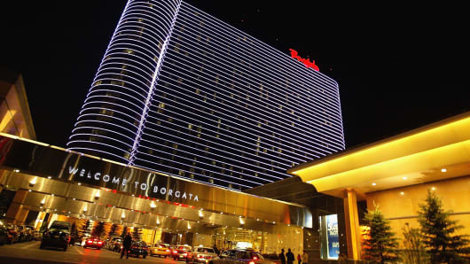 Visitors enter the Borgata Hotel and Casino in Atlantic City, N.J.