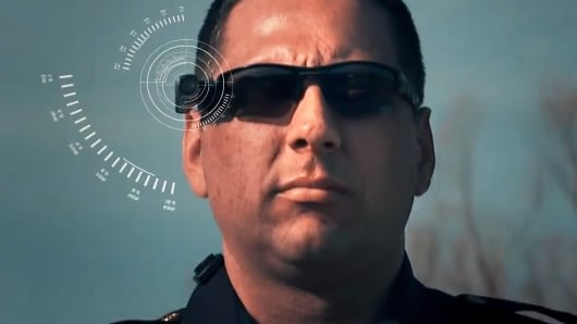 The Axon Flex is a tiny camera that can be placed anywhere on an officer's body.
