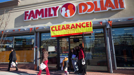Shoppers exit a Family Dollar store in Belleville, New Jersey.