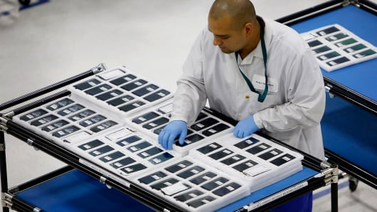 Motorola Solutions Moto X smartphones being assembled at the Flextronics International factory in Fort Worth, Texas.
