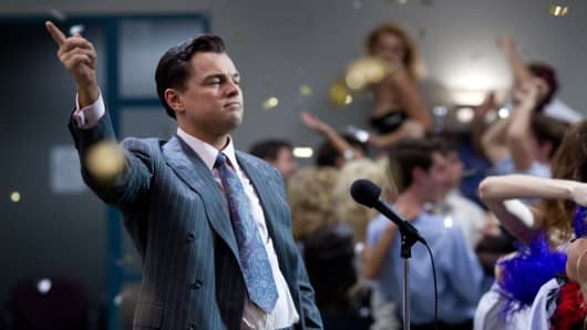 "A scene for ""The Wolf of Wall Street"" starring Leonardo DiCaprio."