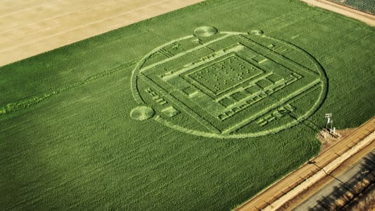 "This photo provided by NVIDIA shows a 310-foot ""crop circle"" in a California barley field that mystified locals this week was explained Sunday Jan. 6, 2014: it was a publicity stunt by Nvidia Corp., a maker of chips for PCs and smartphones."