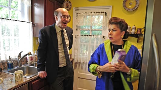 Harvard economists Kenneth Rogoff and Carmen Reinhart in Reinhart's home in Washington in 2010.