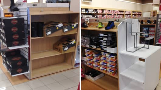 "Understocked shelves in the shoe department at a store. R: Empty ""end cap,"" which is usually an important component at stores."