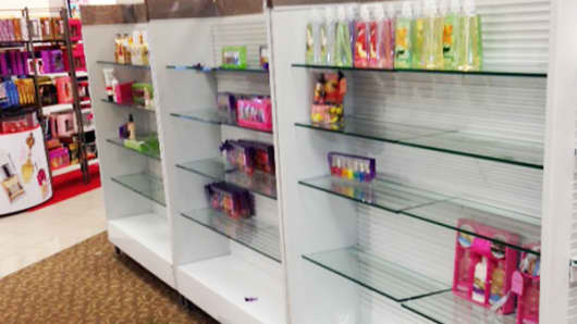 Cosmetics are increasingly important at many retailers – yet the shelves are empty at this store.