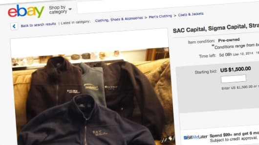 EBay page selling SAC and other fleece garments for $1,500.