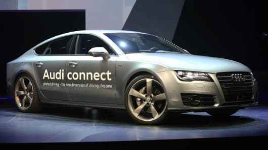 The Audi A7 Autonomous on display at the 2014 Audi CES keynote presentation at The Chelsea at The Cosmopolitan of Las Vegas on Monday.