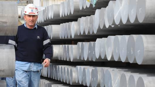 Aluminum rods in a Alcoa plant.