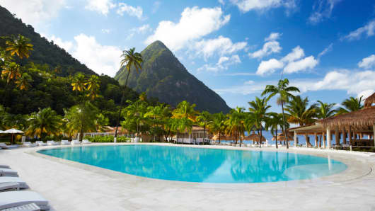 Sugar Beach in St. Lucia is a top luxury destination in the Caribbean.