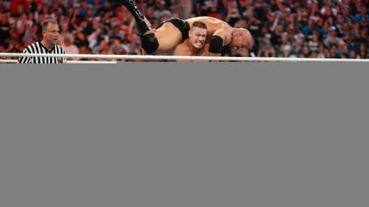Dwayne ''The Rock'' Johnson and John Cena in action during WrestleMania XXVIII at Sun Life Stadium on April 1, 2012 in Miami Gardens, Fla.