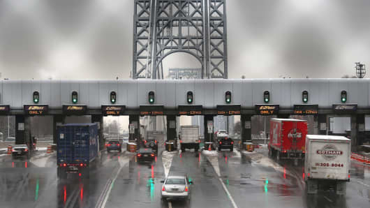 Vehicles at the toll plaza of the George Washington Bridge on December 17, 2013 in Ft. Lee, New Jersey.