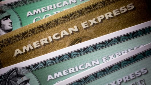 American Express cards are arranged for a photograph in New York.