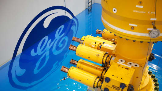 A subsea oil and gas tree at the General Electric manufacturing plant in Montrose, U.K.
