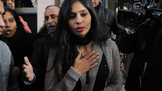 Indian diplomat Devyani Khobragade (C) in New Delhi on January 11, 2014.