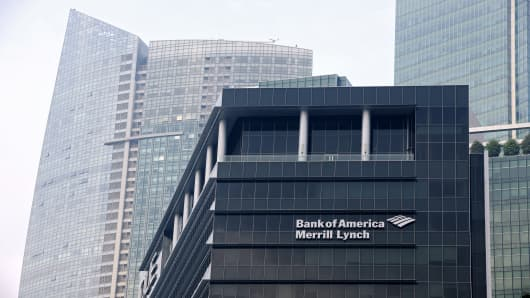 The Bank of America Merrill Lynch logo is displayed on the facade of the OUE Bayfront building, one of the two assets slated for inclusion in the OUE Commercial Trust.