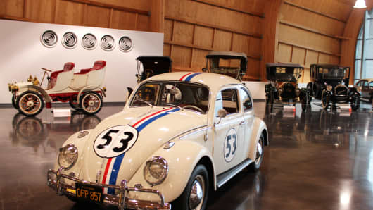 A father and his young son transformed this 1963 VW Beetle into a reproduction of Herbie the Love Bug, complete with racing stripes and numbers the same paint color - Volkswagen's L-87 Pearl White – used to paint the cars used in the movies.
