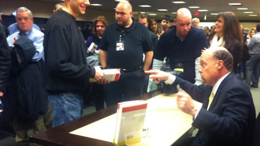 Jim Cramer at a book signing of his latest book: Get Rich Carefully.