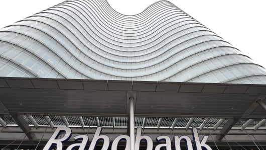The exterior of the headquarters of Dutch co-operative bank Rabobank.