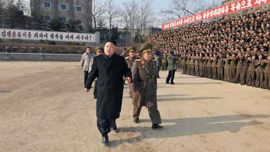 Kim Jong-Un inspects the command of Korean People's Army Unit 534.
