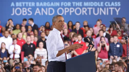 President Barack Obama speaks on the economy at North Carolina State University in Raleigh on Wednesday.