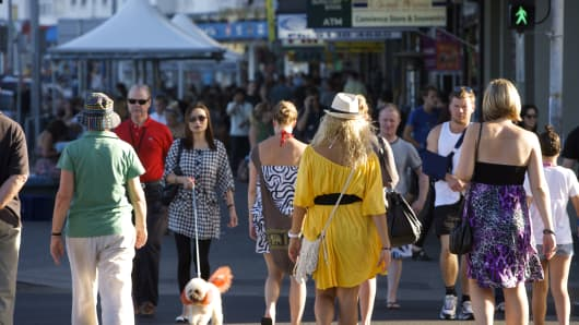 Pedestrians on Campbell Parade, Bondi