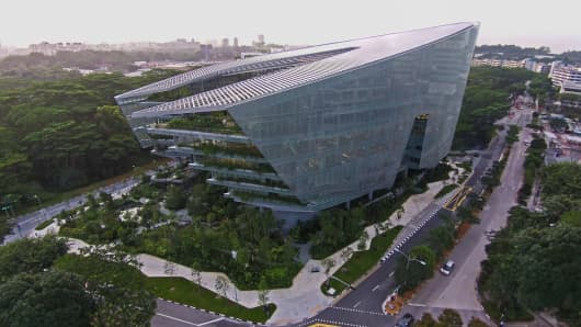 "The ""Sandcrawler"" building in Singapore was officially opened on Thursday by George Lucas, director of Star Wars and founder of California-based Lucasfilm."