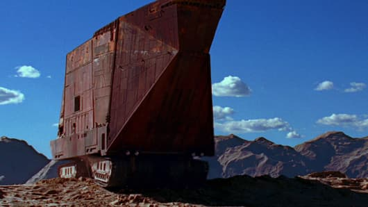 "The ""Sandcrawler"" from a clip in the Star Wars movies."