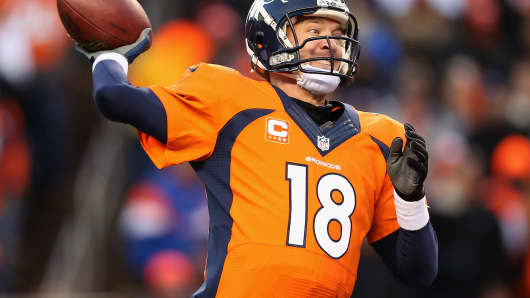 Peyton Manning #18 of the Denver Broncos.