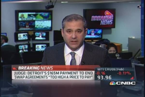 Bankruptcy judge rejects Detroit's interest-rate swap deal
