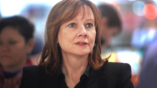 General Motors CEO Mary Barra attends the North American International Auto Show at Cobo Hall on January 16, 2014 in Detroit, Michigan.
