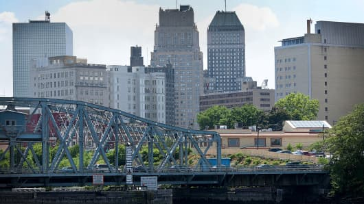 The Bridge Street Bridge, Passaic River and Newark skyline are seen from Harrison, New Jersey.