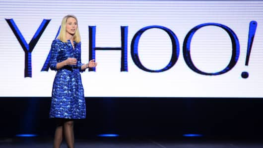 Yahoo! President and CEO Marissa Mayer delivers a keynote address at the 2014 International CES in Las Vegas, Jan. 7, 2014.