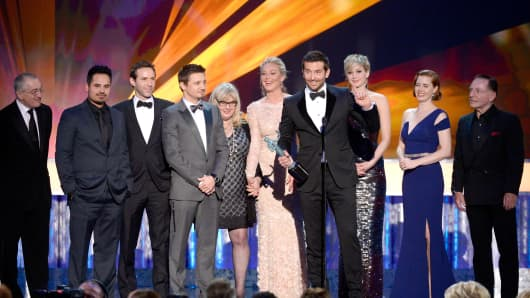 Cast in of 'American Hustle' onstage during the 20th Annual Screen Actors Guild Awards at The Shrine Auditorium on Saturday in Los Angeles, California.