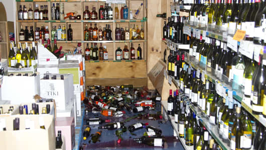Stock items lie on a shop floor in the small Wairarapa town of Eketahuna on January 20, 2014 after a strong 6.3-magnitude earthquake rattled New Zealand, halting train services and knocking merchandise off shelves, but with no immediate reports of major damage or injuries.