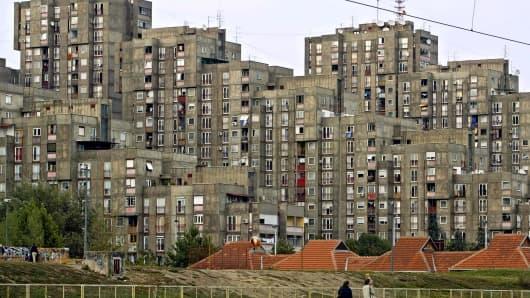 Suburban landscape in New Belgrade, Serbia