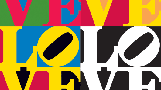 Detail from Robert Indiana's LOVE.