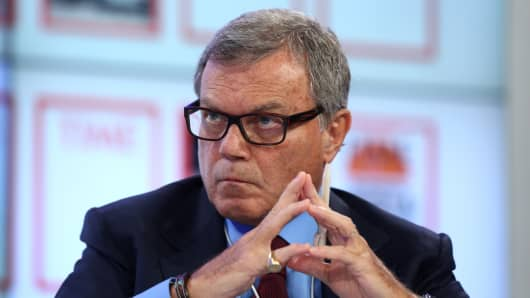 Martin Sorrell, chief executive officer of WPP, pauses during a session on the opening day of the World Economic Forum in Davos, Jan. 22, 2014.