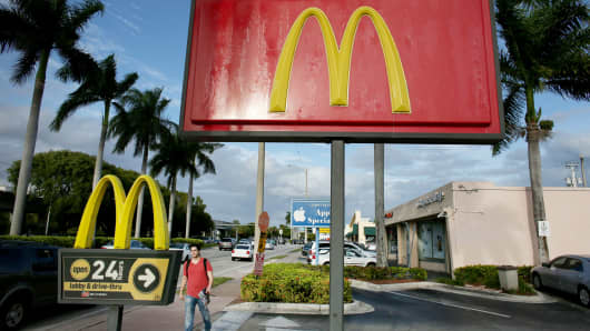 A McDonald's restaurant is seen on November 14, 2013 in Miami, Florida.