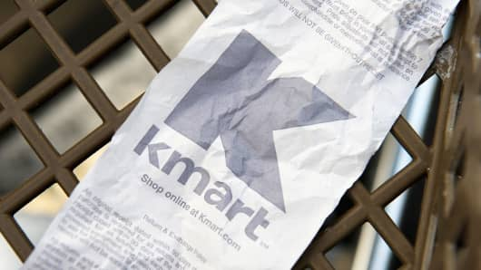 A Kmart receipt on the bottom of a shopping cart in front of a store in San Mateo, Calif.