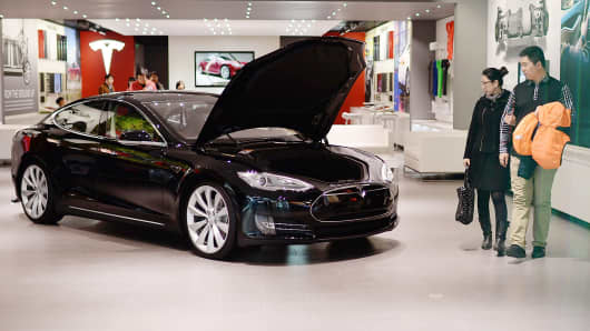 Model S displayed in a Tesla showroom in Beijing.