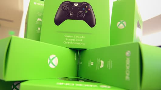 Boxes of Xbox One devices at the Xbox One Gaming Tournament on November 23, 2013 in Bridgewater, New Jersey.
