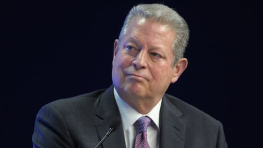Former Vice President Al Gore listens during a session in Davos on Jan. 24, 2014.