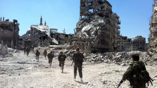 Soldiers on patrol in Syria.