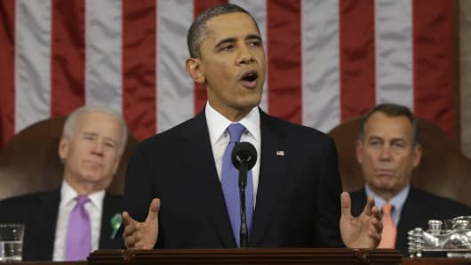 President Barack Obama, flanked by Vice President Joe Biden and House Speaker John Boehner of Ohio, gives his State of the Union address during a joint session of Congress on Capitol Hill in Washington, Tuesday Feb. 12, 2013.