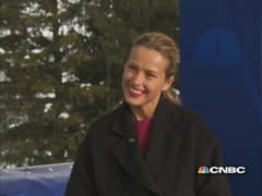 Super model Nemcova trades runway for Davos