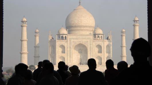 The Taj Mahal in Agra, Uttar Pradesh, India.