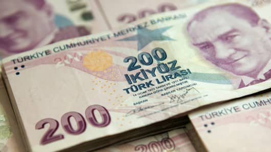 Two hundred denomination Turkish lira banknotes